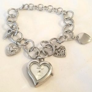 SILVER Heart Bracelet Watch with Heart Charms